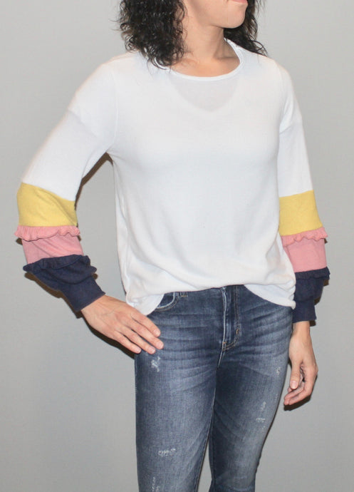 COLOR BLOCK RUFFLE DETAIL LONG SLEEVE
