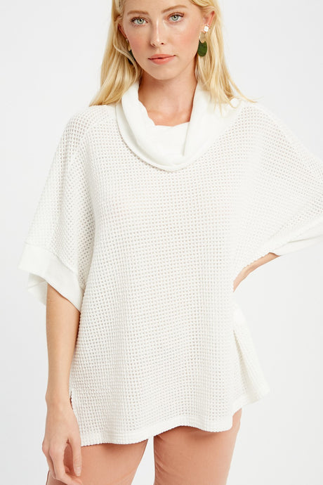 WAFFLE COWL NECK KNIT TOP