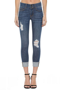 MID RISE CUFF JEANS