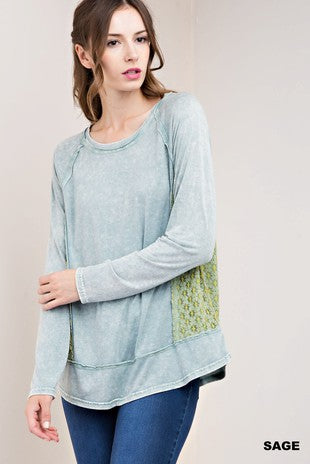 CONTRAST LACE DETAIL MINERAL WASHED TOP