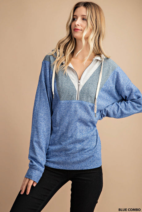 COLOR BLOCKED HALF- ZIP HOODIE