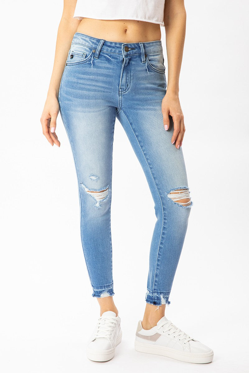 LIGHT DISTRESS CROP JEAN