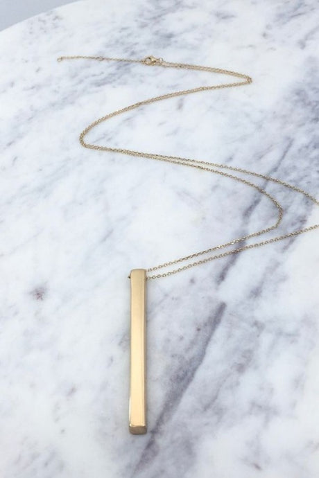 SOLID BAR PENDANT NECKLACE