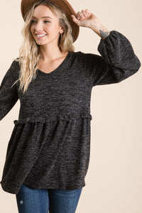 EMPIRE BUBBLE TOP (CHARCOAL)