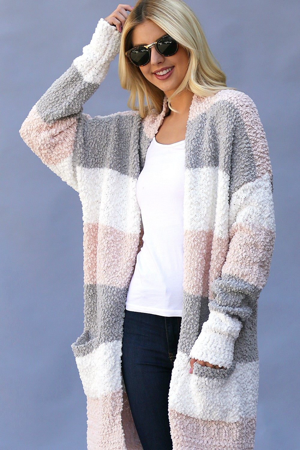 BLUSH STRIPE CARDIGAN