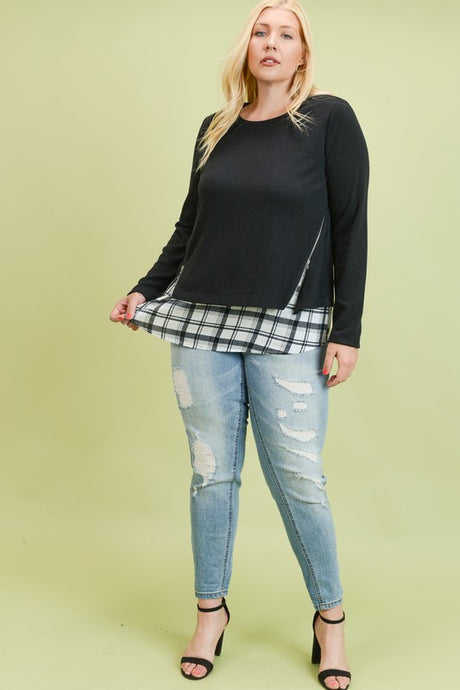 SWEATER TOP WITH UNDERLAY & ZIPPER (CURVY)