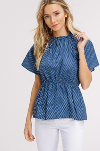 POLKA DOT RUFFLE NECK PEPLUM TOP