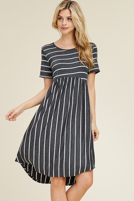 CHARCOAL STRIPPED DRESS