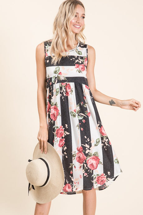 STRIPE FLORAL DRESS