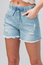 Load image into Gallery viewer, DISTRESSED ELASTIC WAIST DENIM SHORTS