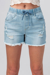 DISTRESSED ELASTIC WAIST DENIM SHORTS