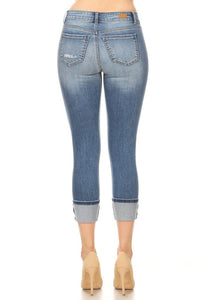 Mid Rise Distressed Wide Cuffs Skinny Jeans
