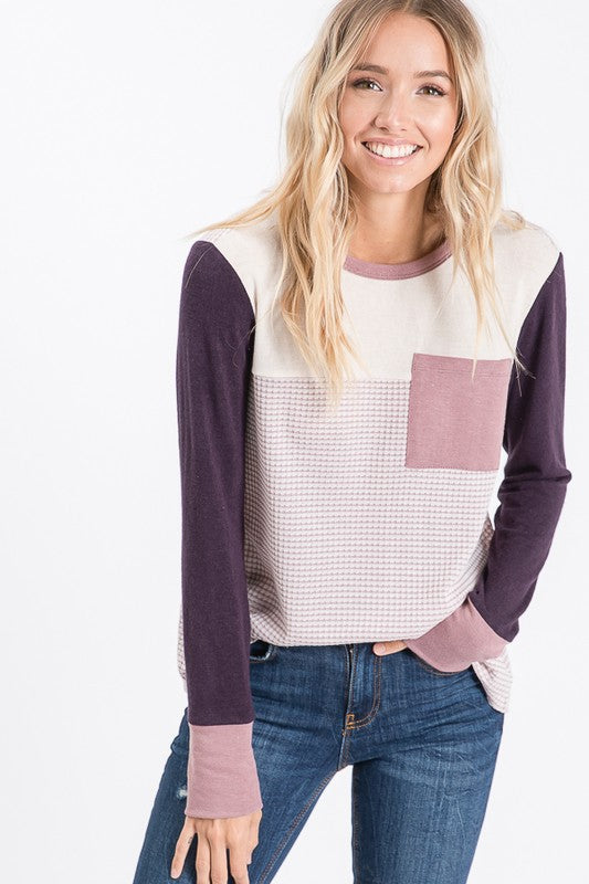PLUM COLOR BLOCK TOP