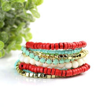 Load image into Gallery viewer, {RED & TURQUOISE} BOHO STACK BRACELET