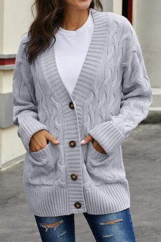 CABLE KNIT BUTTON CARDI