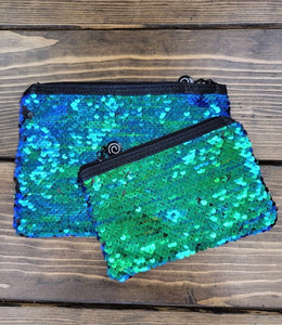 BLUE, GREEN & BLACK REVERSIBLE SEQUIN POUCH