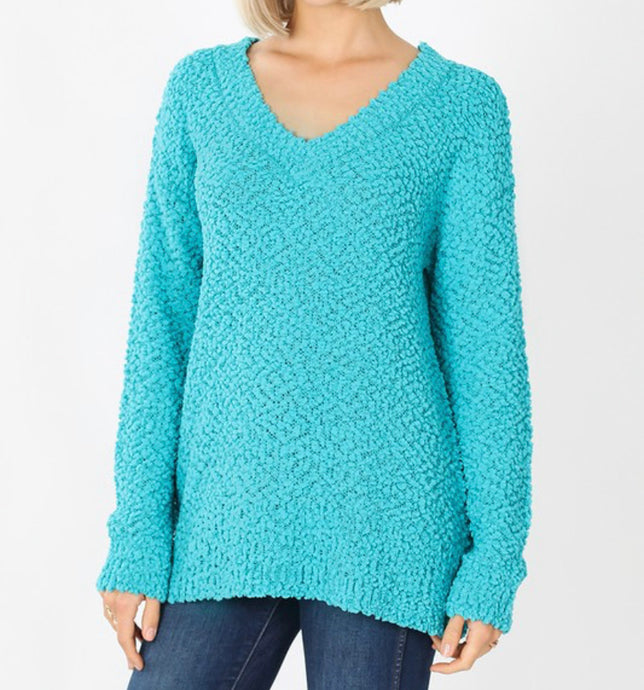 AQUA POPCORN V-NECK SWEATER (CURVY)