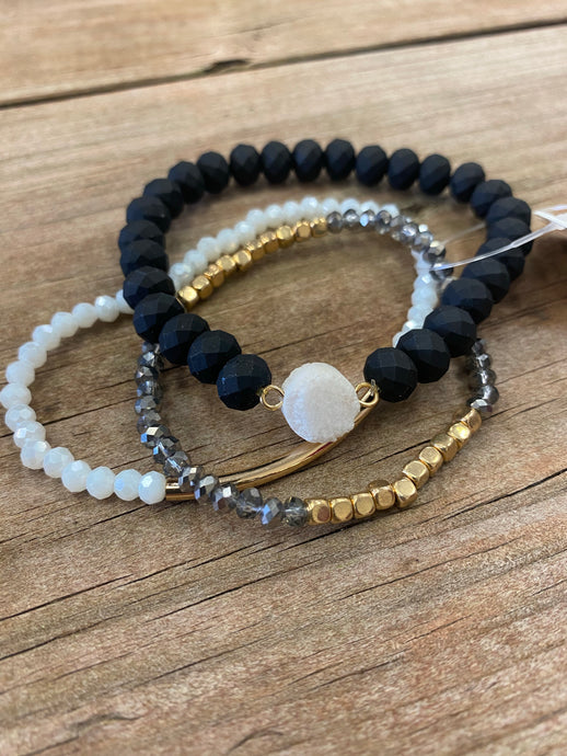 BELLA BRACELET COLLECTION - BLACK, WHITE & GOLD
