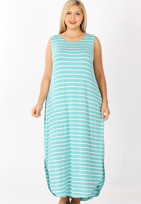 MINT STRIPE MAXI (CURVY)