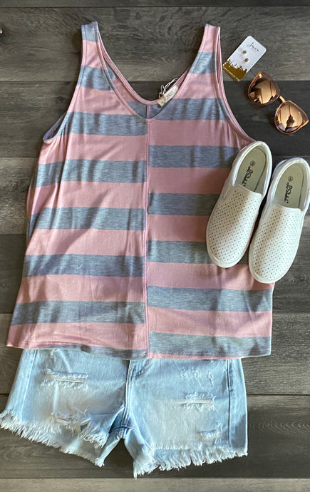 MAUVE AND GREY STRIPED TANK