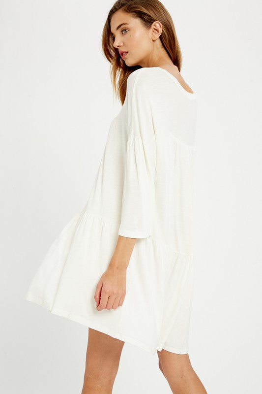 IVORY MID SLEEVES JERSEY TUNIC DRESS
