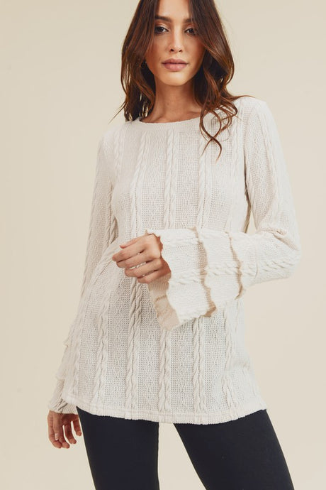 RUFFLE TIER SLEEVE CABLE KNIT SWEATER