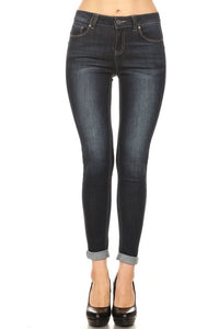 CLASSIC MID RISE PUSH UP ROLLED SKINNY JEANS
