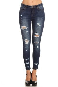 HIGH RISE DISTRESSED CROPPED DENIM SKINNY JEANS