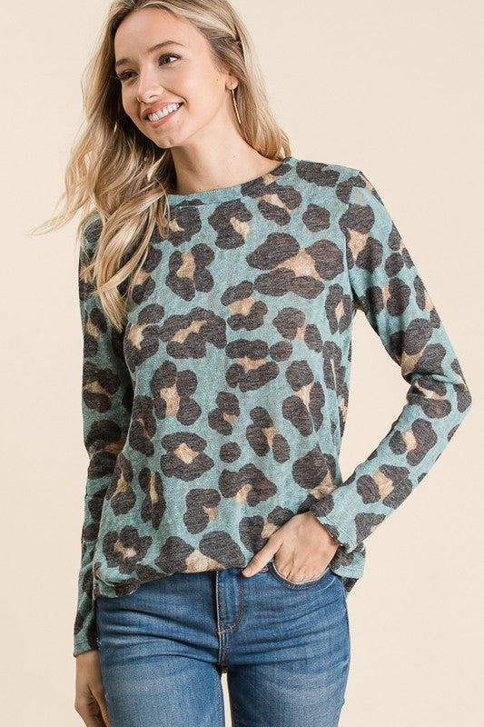 ANIMAL PRINT TOP (MINT)
