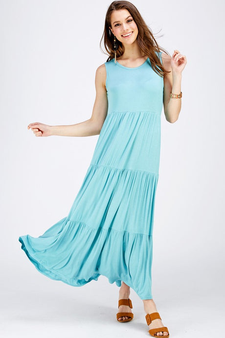 MINT TIERED MAXI DRESS (CURVY)