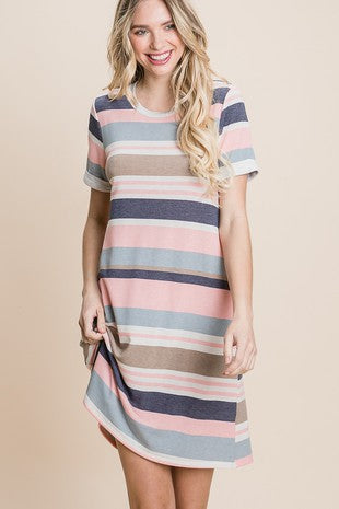 NAVY STRIPE TSHIRT DRESS