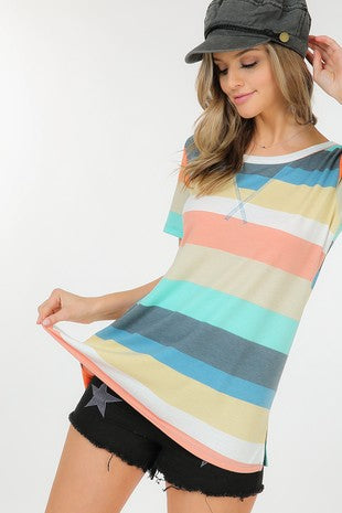 PEACH STRIPE TOP