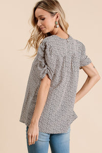PRINT BUBBLE SLEEVE SHIRT