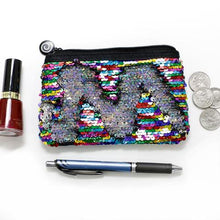 Load image into Gallery viewer, RAINBOW & SILVER REVERSIBLE SEQUIN POUCH SET
