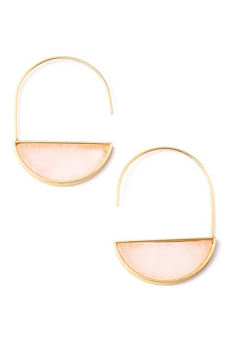 HALF DISC STONE DROP HOOP EARRINGS