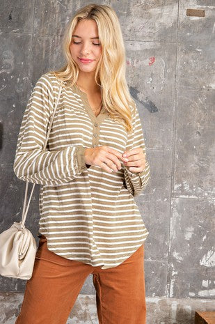 SAGE STRIPED LONG SLEEVE TOP