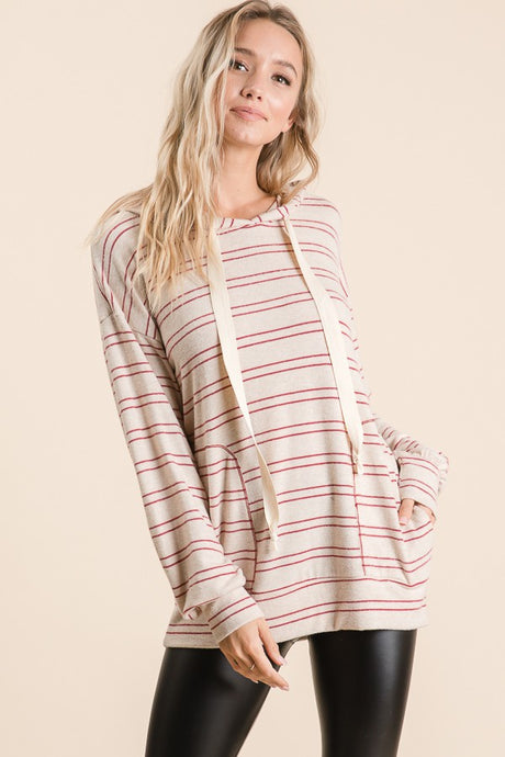DOUBLE STRIPE HOODED LONG SLEEVE TOP