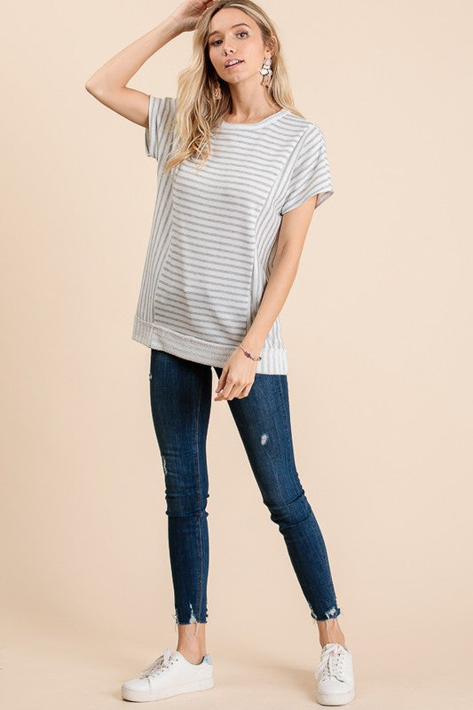 STRIPE SHORT SLEEVE TOP