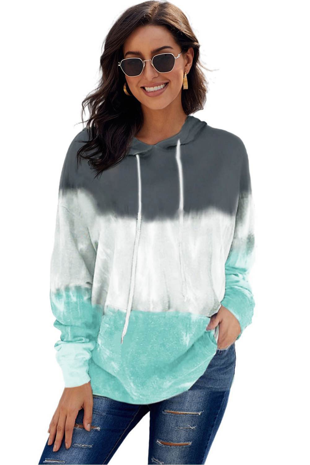 TEAL HOODED LONG SLEEVE