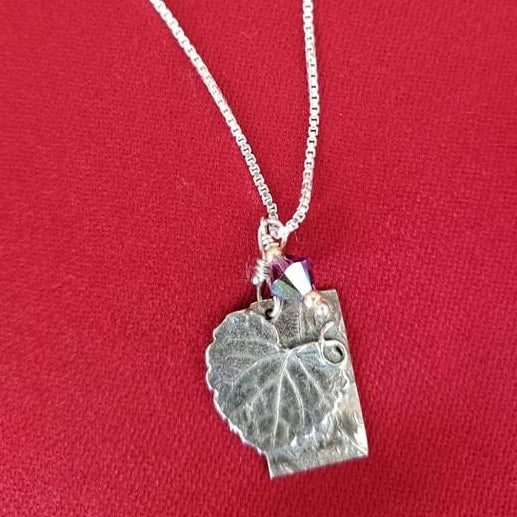 Sterling silver necklace leaf
