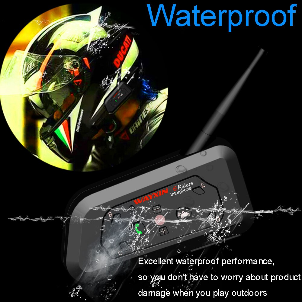 WAYXIN Motorcycle Bluetooth Intercom 2 Pcs Helmet Intercom Upto 6 Riders 1200M  Wireless Waterproof Interphone Headsets  R6