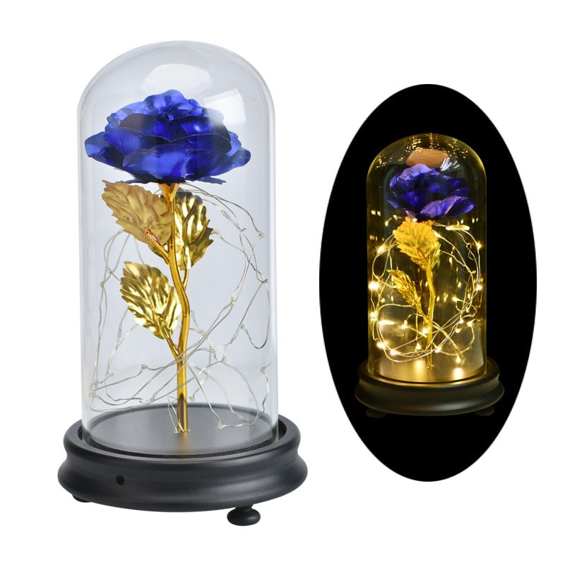 Hot Sale Beauty and The Beast Gold Foil Rose Flower LED Light Artificial Flowers In Glass Dome Party Decorations Gift For Girls|Artificial & Dried Flowers