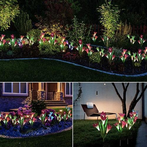 Solar-Powered Artificial Lily Stake Lights