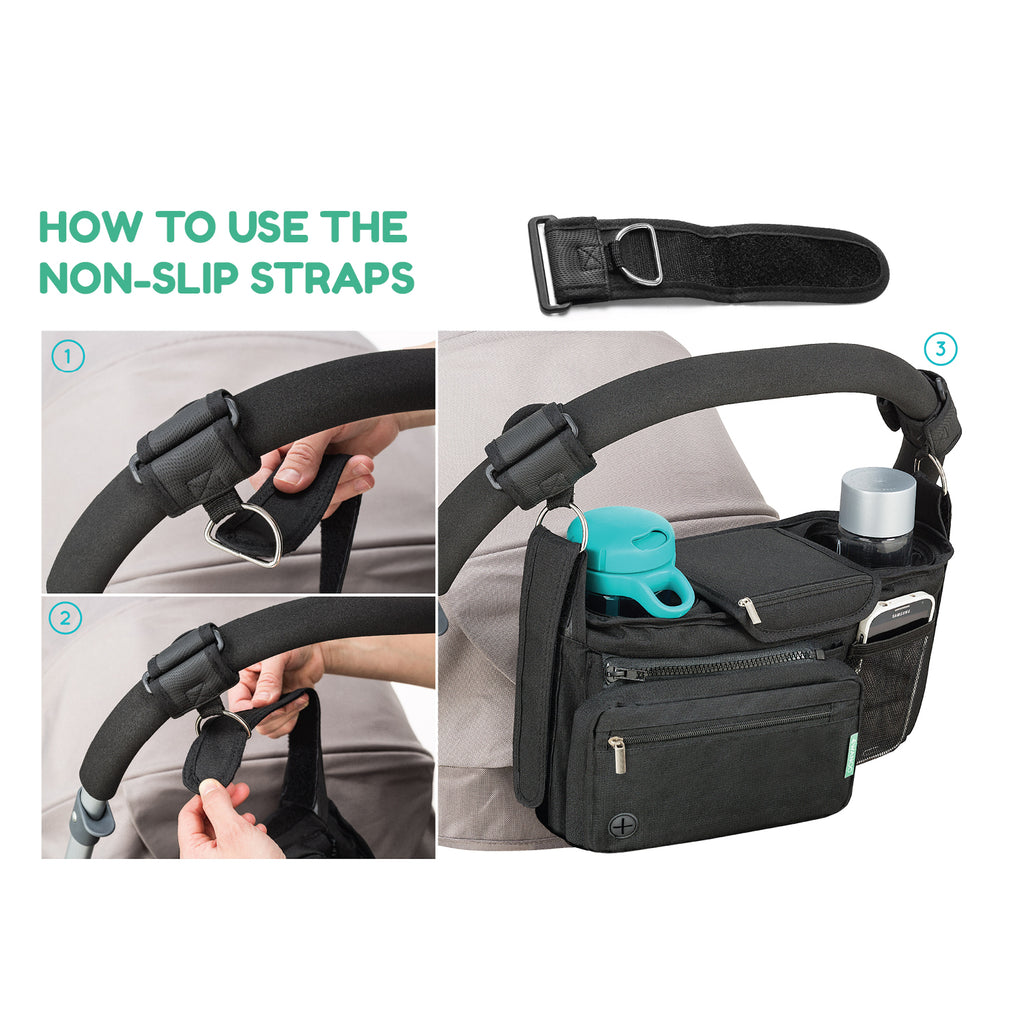 Non-Slip Stroller Organizer With Cup Holders,