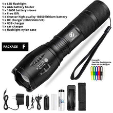 Charger l'image dans la galerie, Led flashlight Ultra Bright torch T6/L2/V6 Camping light 5 switch Modes waterproof Zoomable Bicycle Light  use 18650 battery