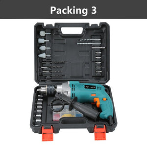 Electric impact drill home multi-function drilling through wall mini hand drill set