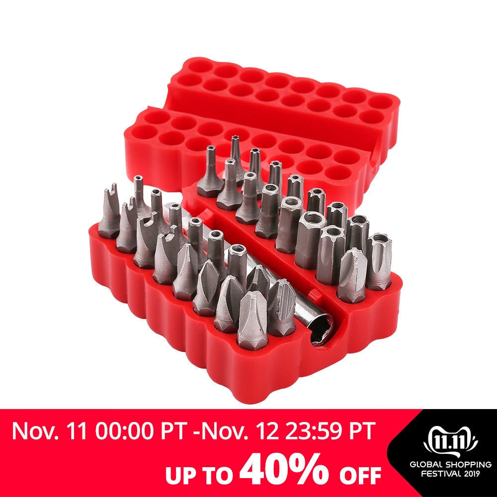 DEKO PT008 33pcs Security Bit Set with Magnetic Extension Bit Holder Tamper Proof Torq Torx Hex Star Screwdriver Bits Set