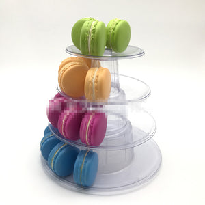 4 Tiers Round Macaron Tower Stand Macaroons Display Rack Holder Baby Shower Party Cake Decorating Tools Wedding Decor