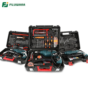 FUJIWARA 710W 220V 50HZ Electric Impact Drill 18/38/68 Sets Household Hand-held Hammer Wall Drilling Woodworking Drill