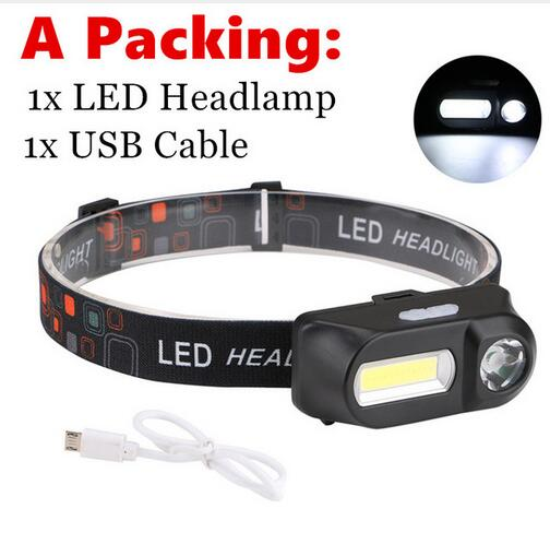 Outdoor camping Portable mini XPE+COB LED Headlamp USB charging Fishing headlights flashlight